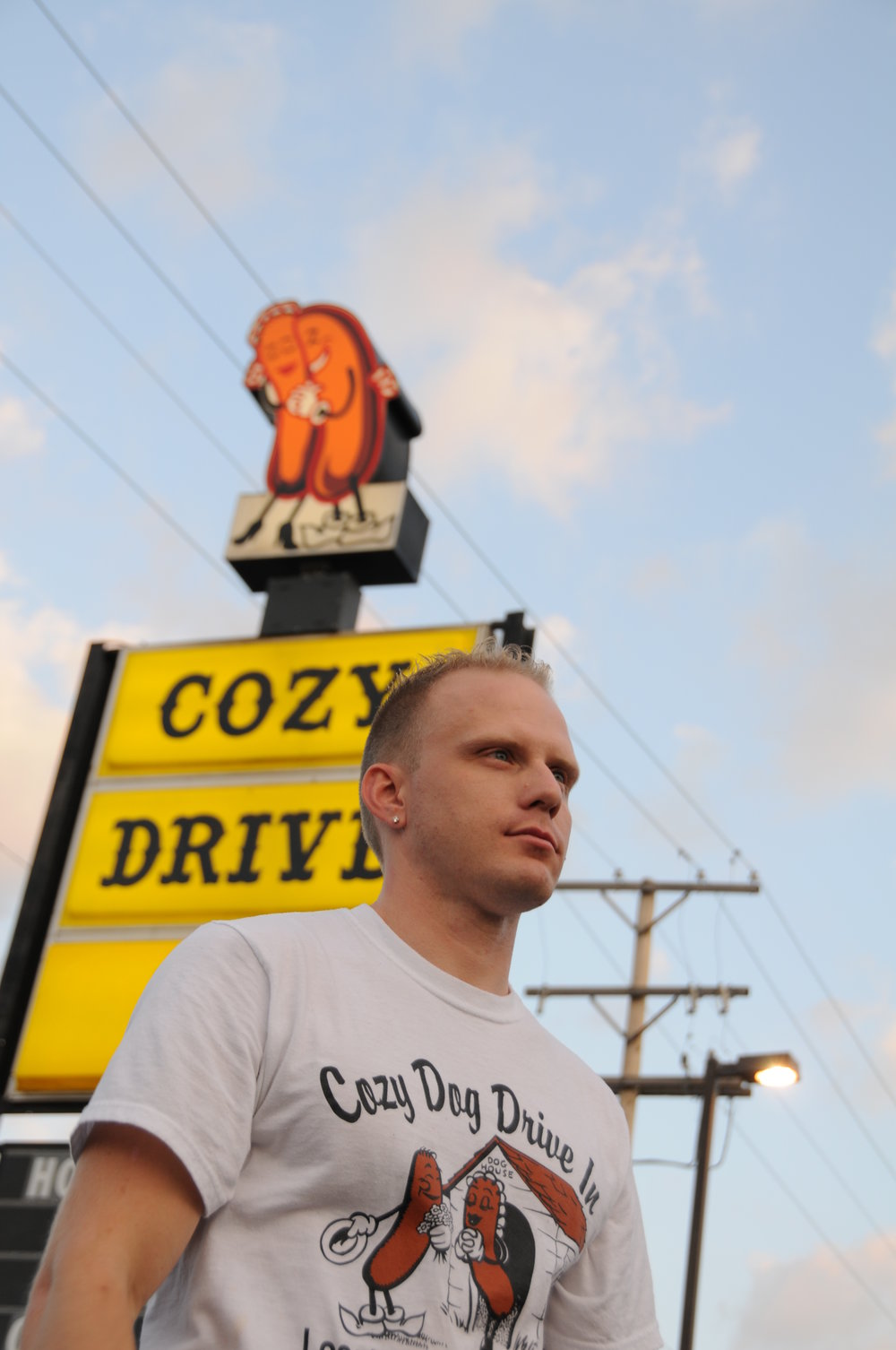 Josh at Cozy Dog Drive In Springfield IL Route 66 Tradition.  Photo by Dean Williams Photography.