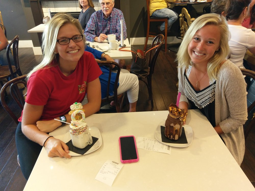 Cassie Huey & Savannah Renken enjoying the Freak Shakes at Peases at Bunn Gourment