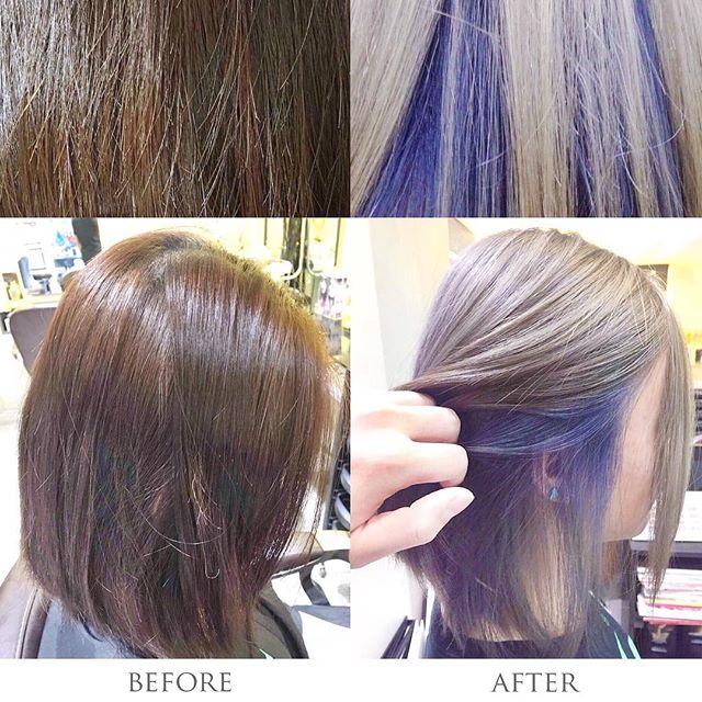 #AmourHairdo Stylist: Mika Tam @mika.tam  Technician: Bonnie Wong  呢位少女從來未漂染過,今次Mika以冷酷既灰色為主題,加上紫藍色做襯托,即刻帶比人一種冷艷又時尚既感覺👈🏻 Make an appointment with us to experience Instant hair transformation tailored to you! AMOUR SALON Shop B, 38 Hennessy Road, Wan Chai, Hong Kong 香港灣仔軒尼詩道38號地下B舖 (852) 29891555  #hairsalon #hair #olaplex #olaplextreatment #coloring #haircoloring #haircare #hairdresser #wanchai #salonhk #hairsalonhk #lorealprofessionnel #stylist #hairstylist #red #hkig #hksalon #hairdo