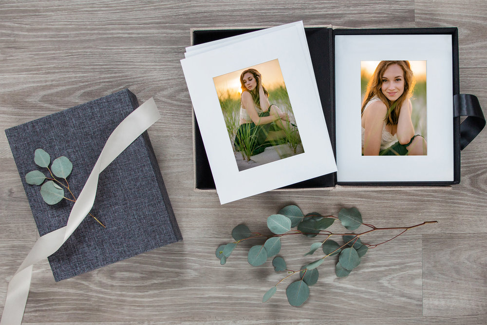 Portfolio Boxes - Perfect for tabletop display or more discreet storage on a shelf. More image options, can switch out display in a frame.Acid-free matted fine-art prints in a luxury box for safekeeping. Available in multiple finishes.Popular for: Senior Portraits, Boudoir Sessions, Maternity