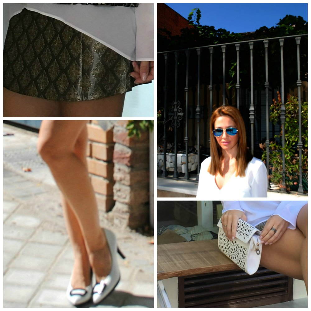 Skirt: NOTRE MAISON; Shoes: HISPANITAS; Blouse: ZARA; Bag: Vintage; Sunnies: Ray-Ban