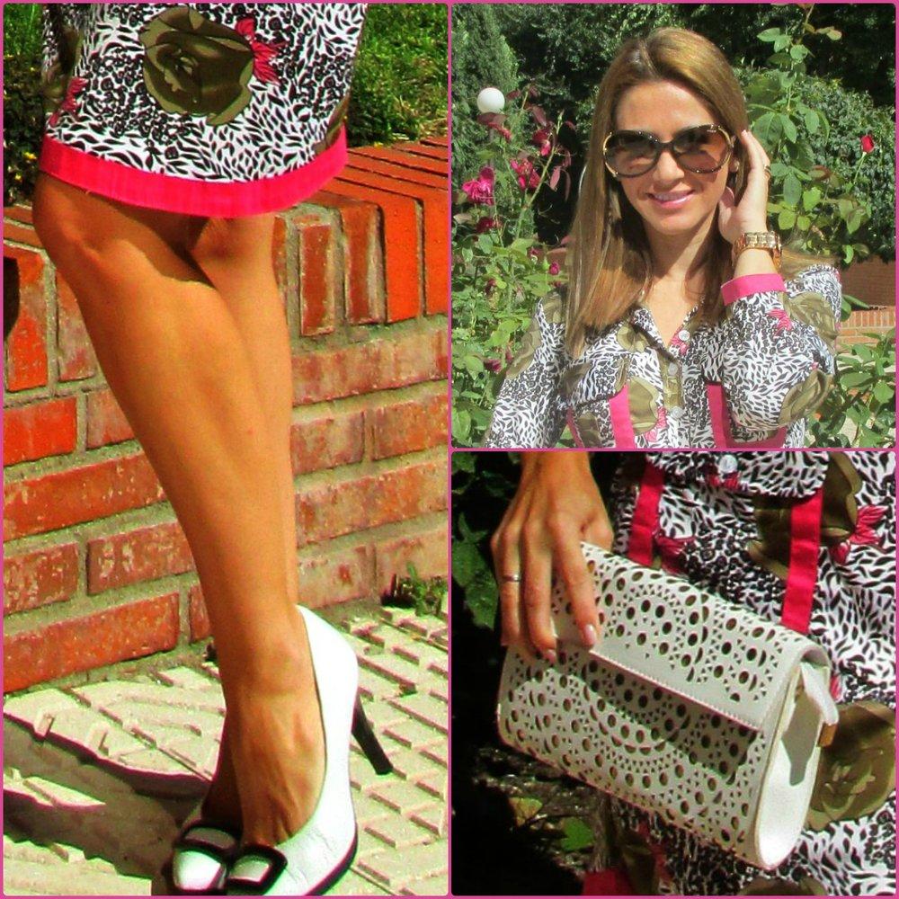 Dress: ALMATRICHI; Handbag: VINTAGE; Sunnies: VOGUE; Shoes: HISPANITAS; Swatch: GUESS