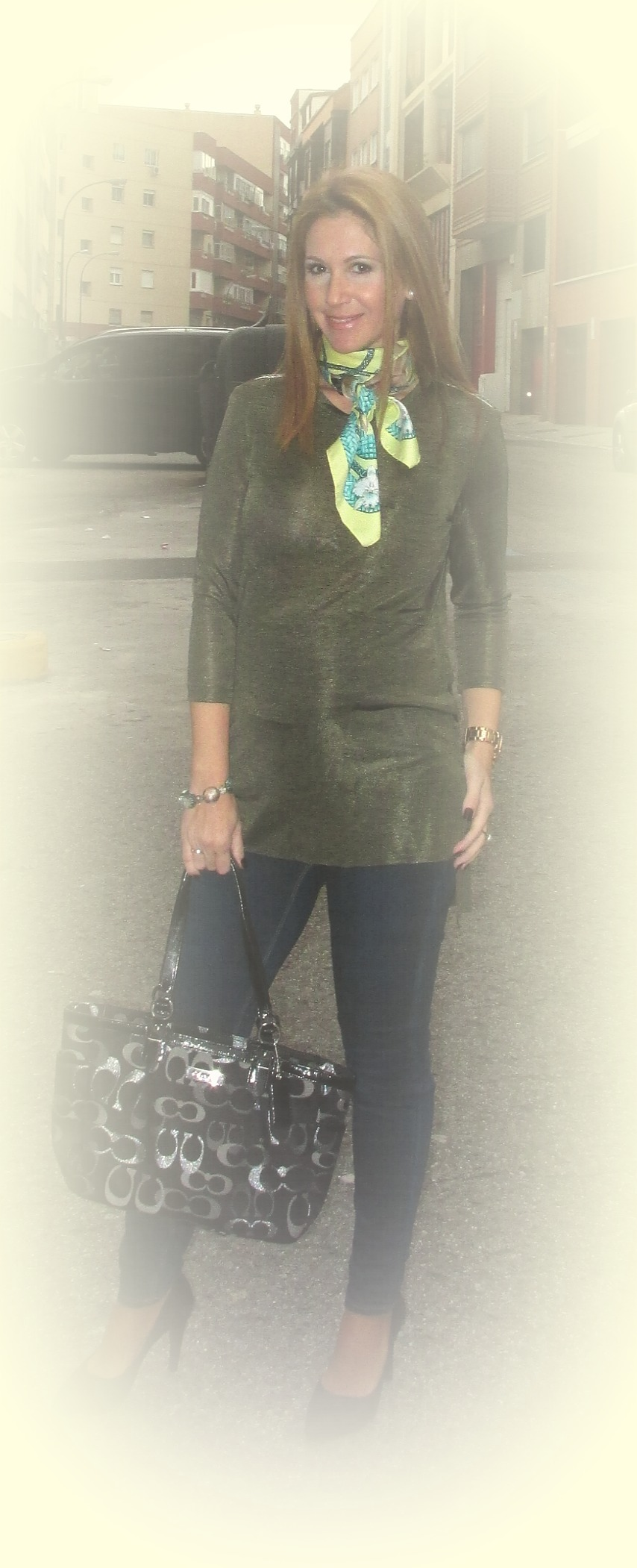 green tunic fashion blog 3