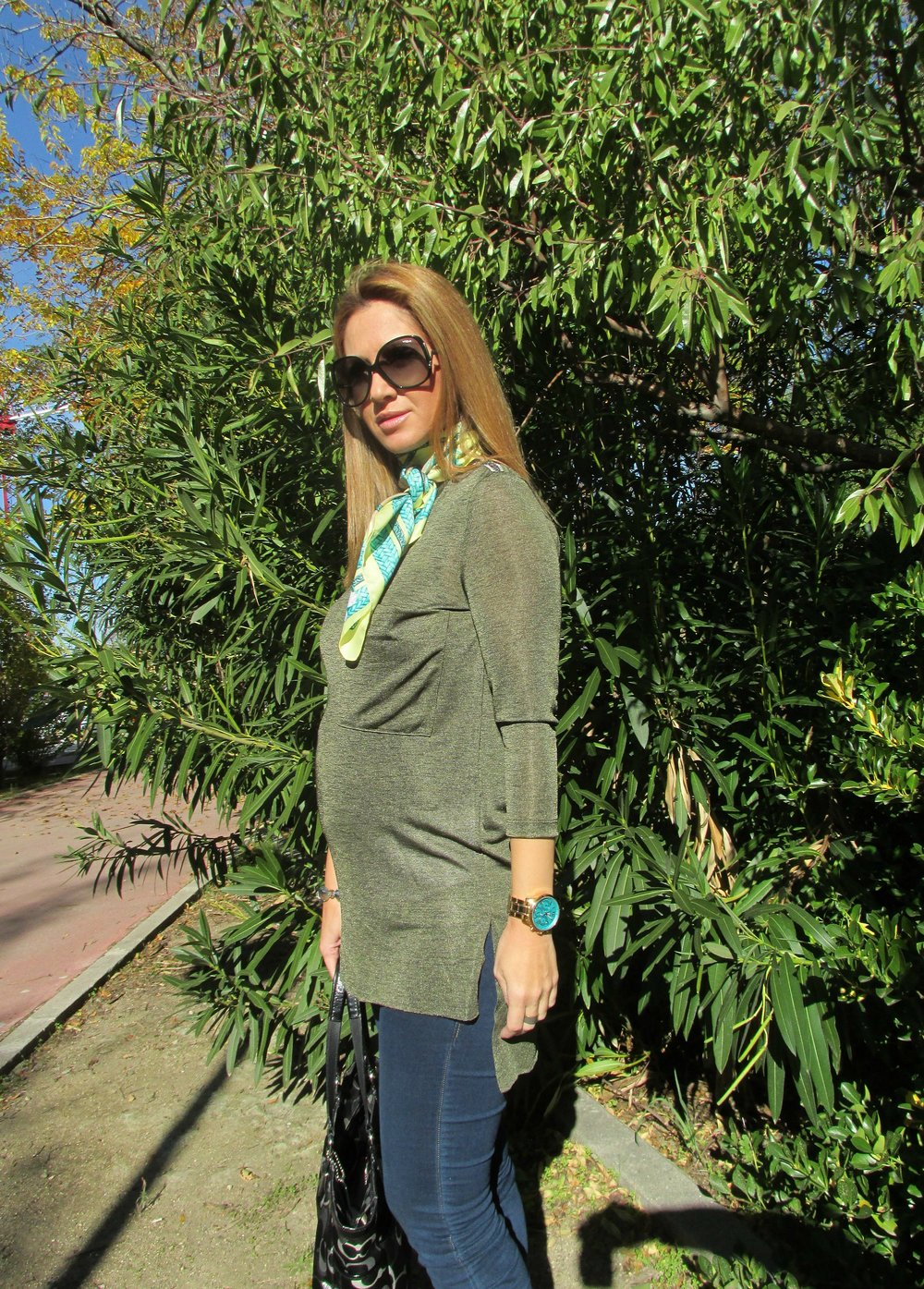 green tunic fashion blog 4