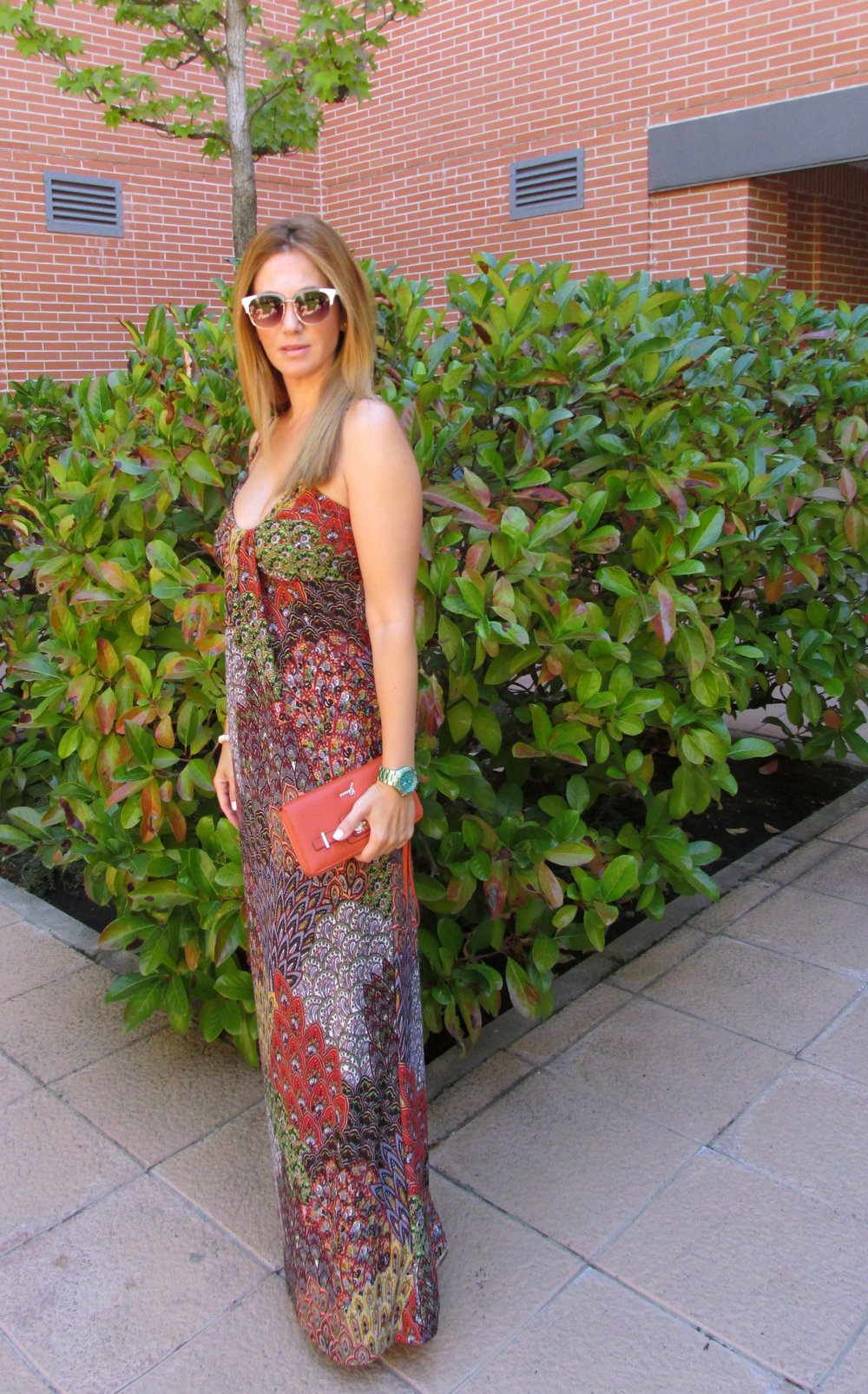 paisley pattern long dress