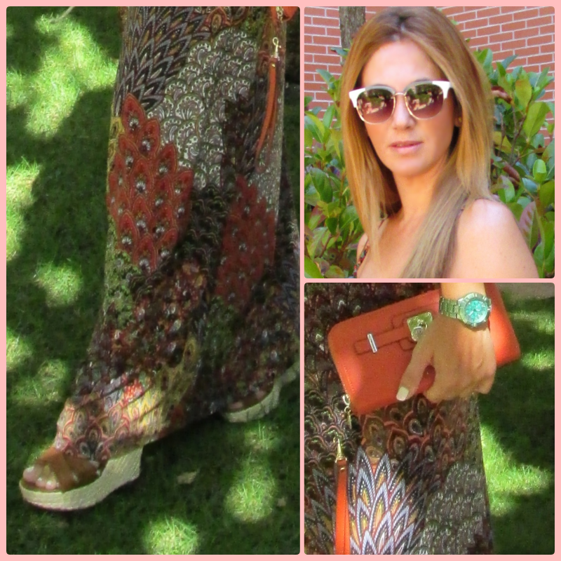 Dress: Bought in LA similar  here . Wedges: H&M (old); Clutch: GUESS; Swatch:GUESS; Sunglasses: PARFOIS.