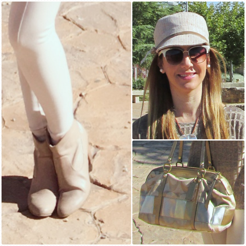 Outfit Details: Leggings: ZARA (old); Top: ZARA (old); Booties: OLIVIER; Hand Bag: COACH; Sunglasses: PARFOIS; Cap: AUGUST.