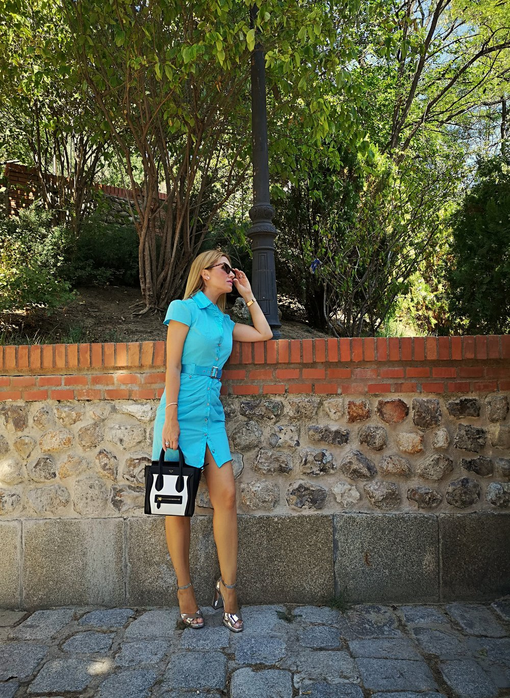 OUTFIT DETAILS: Dress: BEBE; Necklace: SWAROVSKI; Bracelet: SWAROVSKI; Sunnies: STRADIVARIUS; Sandals: Stradivarius (sales); Handbag: CÉLINE; Swatch: MAREA