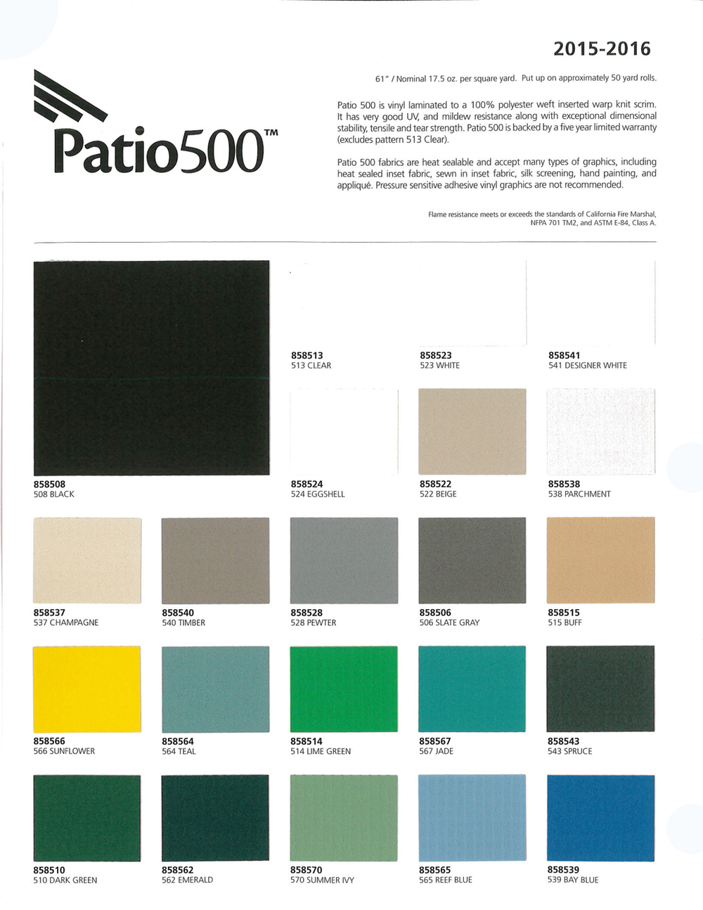 click on image to view  patio 500  pdf