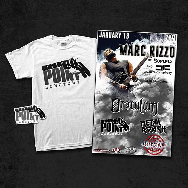 GET TICKETS to our show @ Aftershock JAN 18 and get FREE MERCH!  Get a free white HPL shirt with cash purchase of 2 tickets - OR - Get a free sticker with cash purchase of 1 ticket. DM us for rules & details. #hpl #hollowpointlobotomy #aftershockkc #marcrizzo #oraculum #metalroach #igorcavalera #maxcavalera