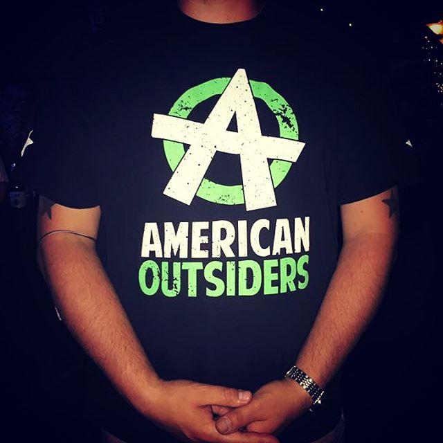 Damn, that's a nice shirt! #americanoutsiders #merch #sie #stickyickyentertainment #hollowpointlobotomy #prohibitionhall #kcmo #kc #kansascity #kansascitymo
