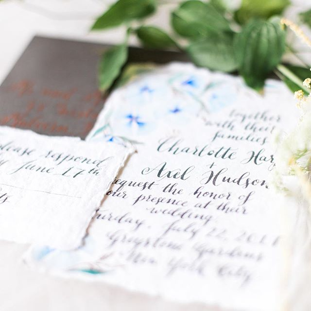 A glimpse of the invitation I created for the styled shoot 💕. Happy Friday all! It's been a busy week here and I'm slowly catching up - hope you have fun and relaxing things planned this weekend! I plan on some quality pool time for sure 🌞 . . . Photography: @kristinastaalphotography  Florals: @designsbyahnnyc Invitations and calligraphy: @opalinelettering Bridal gown and accessories: @alyson_nicole_ Hair and MUA: @caravannyc Hair products: @OGX_beauty @OliviaGardenInt Makeup products: @MustaeUSA @SimplyVenom @FakeBakeUSA Shoes: @badgelymischka Tux: @asos_us