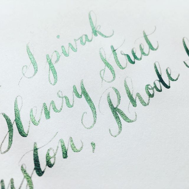 Back to envelopes - a deep sparkly green on white. I always am fond of this combination because green and white were my high school colors 💚