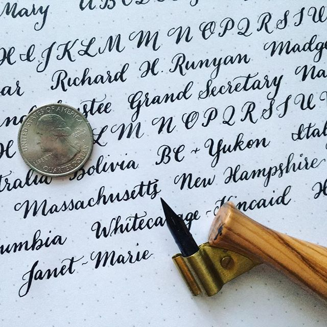 Some small writing practice (quarter for scale!) for an upcoming job