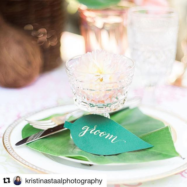Love love the detail shot from a recent styled shoot I participated in! 🍃 Happy Friday - hope you have some fun weekend plans! . . . #Repost @kristinastaalphotography (@get_repost) ・・・ You can't go wrong with colorful Hawaiian inspired decor for your wedding day! I love all the details of this styled shoot 😍  Venue @millstonefarmct  Florals and styling @cwfloraldesign  Assistant - Maggie of @cwfloraldesign  Calligraphy - @opalinelettering  Decor and rentals - @gatherandlounge  Vintage dishes - @brrwdvintage