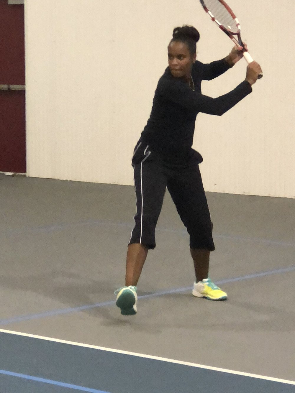 Shana Smith, Tennis Pro - Tennis Pro at The Rec Center at St. Matthew's. Prior to becoming a teaching Professional, Shana worked for Legacy (formally AAYTE) from 2003-2007 coordinating with the National Junior Tennis and Learning in Philadelphia. She played varsity tennis for Williamstown High School (#1 all four years) 1992-1996. Shana was a Division 1 College Tennis Player 1996-2000. Shana is a Member of (USTA) Unitied States Tennis Association and PTR Certifie.