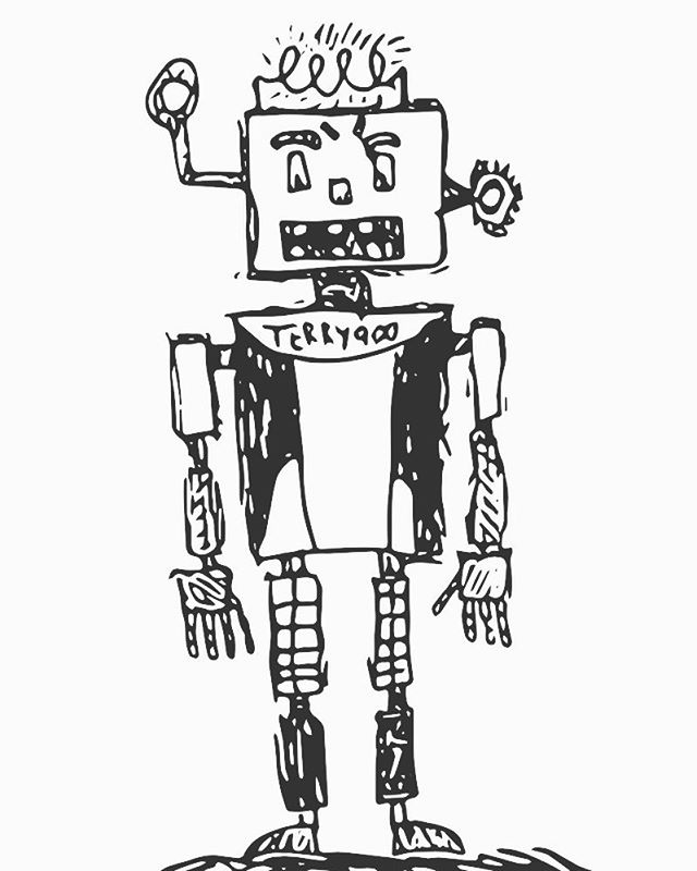 Terry 900.  A robot designed to keep those who get off on arguing with people just for the heck of it completely entranced. they don't notice everyone around them leaving. When terry sees that they realize they're alone he kicks em in the balls and calls them a looser.  It's a topic of large debate where terry 900 came from. Some say from Arcio 7 the ice machine  planet. Others say Ohio. Either way the chances of terry being friendly is said to be 1/156.  #futuretech #terry #doodle #adobeshape #robot #