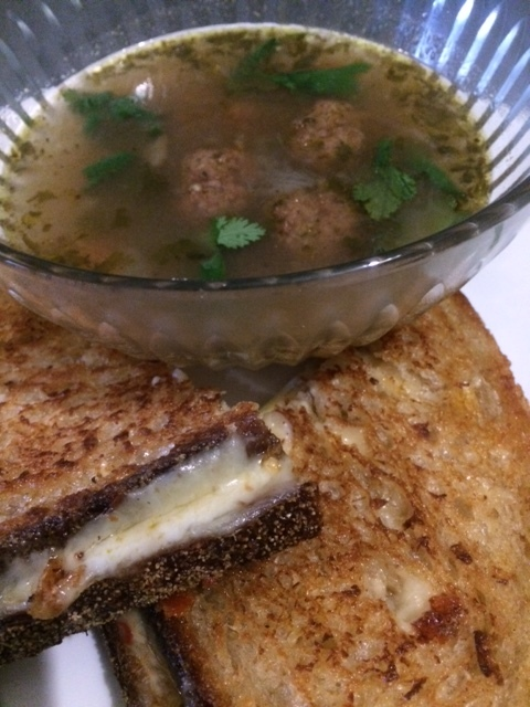 Albondigos Soup with Grilled Pepper Jack Cheese Sandwich