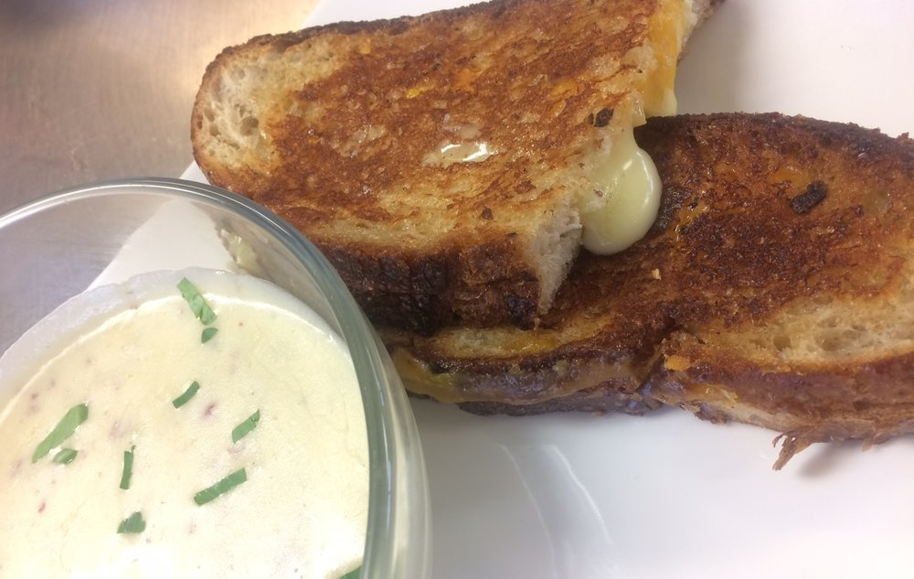 Homemade Creamy Potato Soup with Grilled Cheese Sandwich