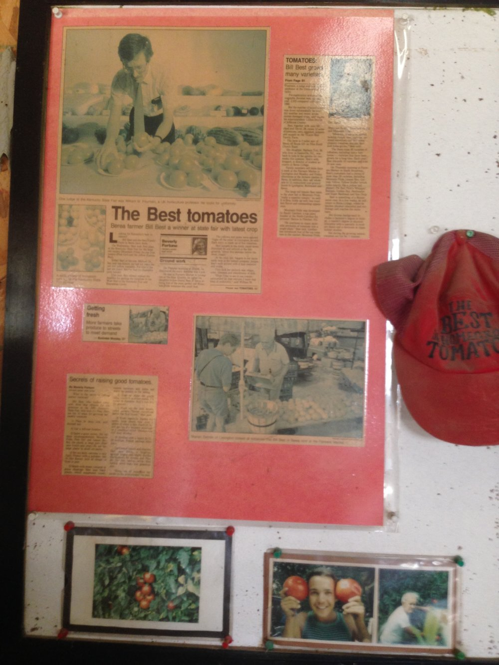 "This display sits in one of the buildings on the farm. It includes newspaper clippings about ""Best tomatoes"" and a special hat."