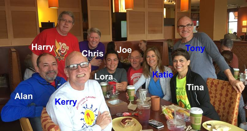 This is Katie's team, the running group Joe's been a part of since the early 2000s, at Panera in Louisville, Kentucky, where they drink coffee and tell lies.