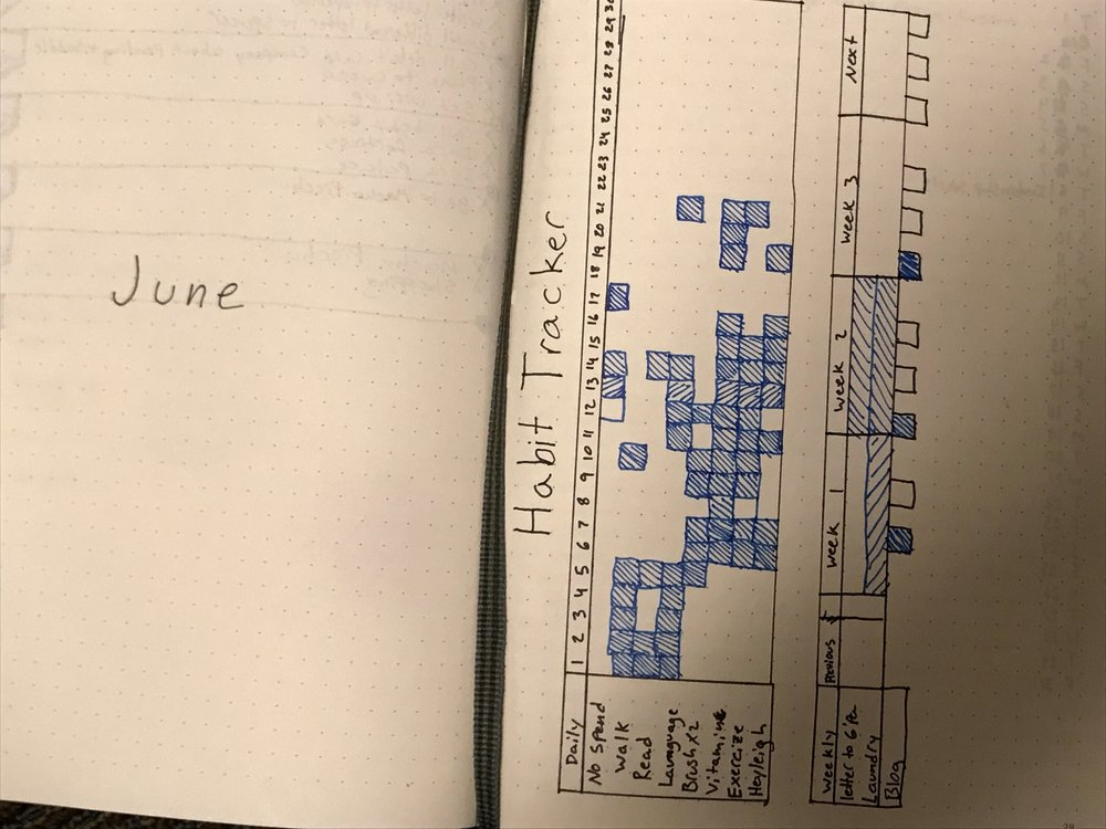 Habit trackers are pretty common, but you can put anything you want on the monthly spread