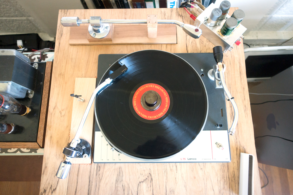 Finished customized idler wheel turntable playing Isis (track 2) from Bob Dylan's album Desire