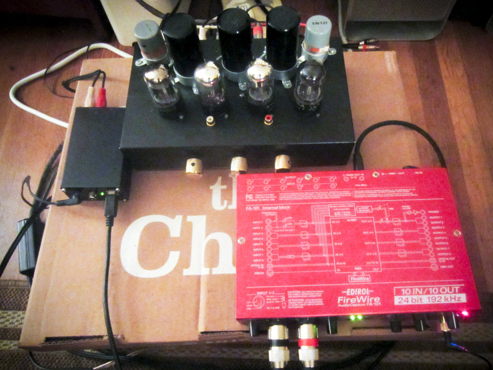 The preamp, a DAC, and the Edirol analog-to-digital converter