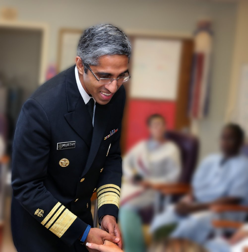 U.S. Surgeon General VADM Vivek H. Murthy visits with Rosary Hall's patients in detox. His July 12, 2016 visit was part of his Turn the Tide campaign to combat the opiate epidemic.