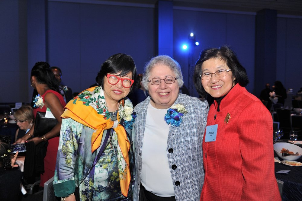Margaret Wong, left, and her sister Cecilia with Sister Judith Ann Karam, congregational leader of the Sisters of Charity Health System.
