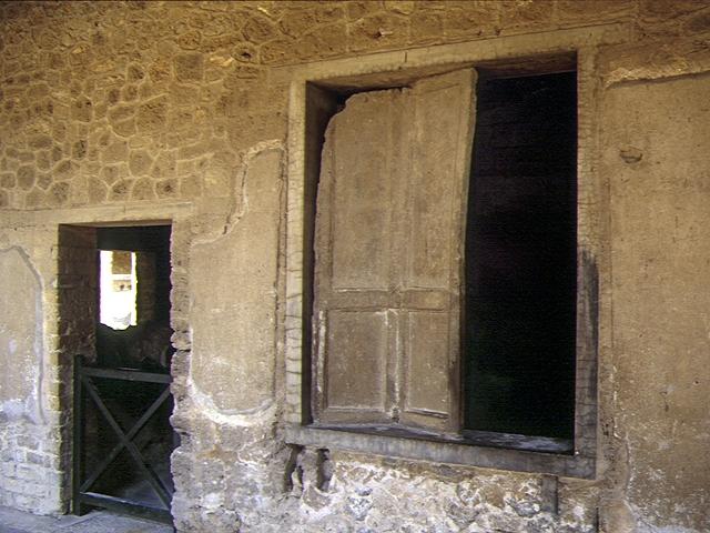 plaster cast of shutters in Pompeii