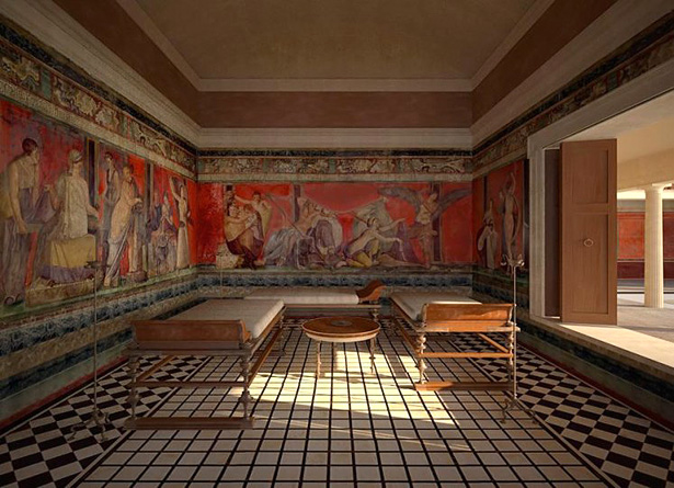 Computer generated recreation of the triclinium of the Villa of the Mysteries by James Stanton-Abott