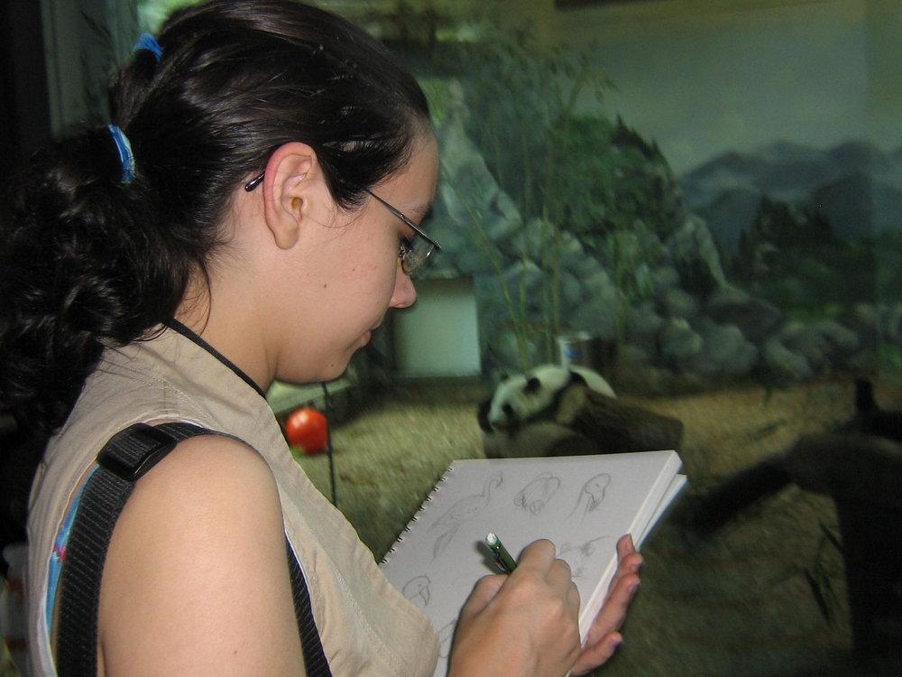Bob's daughter, Sarah, focuses in sketching flamingos at the zoo