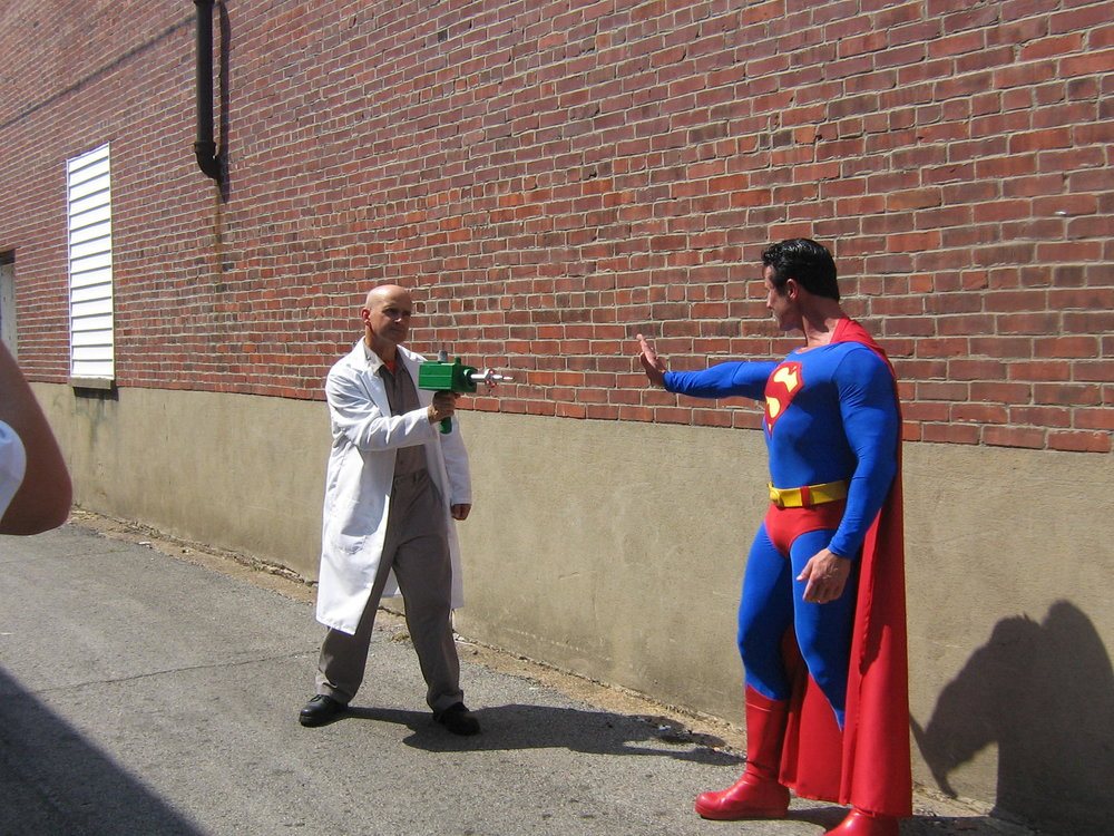 Bob (left) in retro-Lex Luthor costume at 2010 Superman Celebration