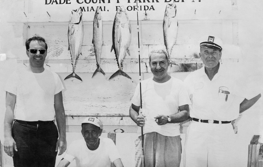 William B. Rizzuto Sr, left. Bill's favorite, Uncle Eddie, third from left. Circa 1961, Miami Beach, Florida