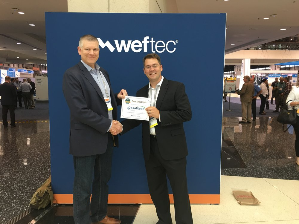 Jeff Brosdal, Executive Business Development, receives the Best Employer in the Water Industry award on behalf of Desalitech (WEFTEC 2017)