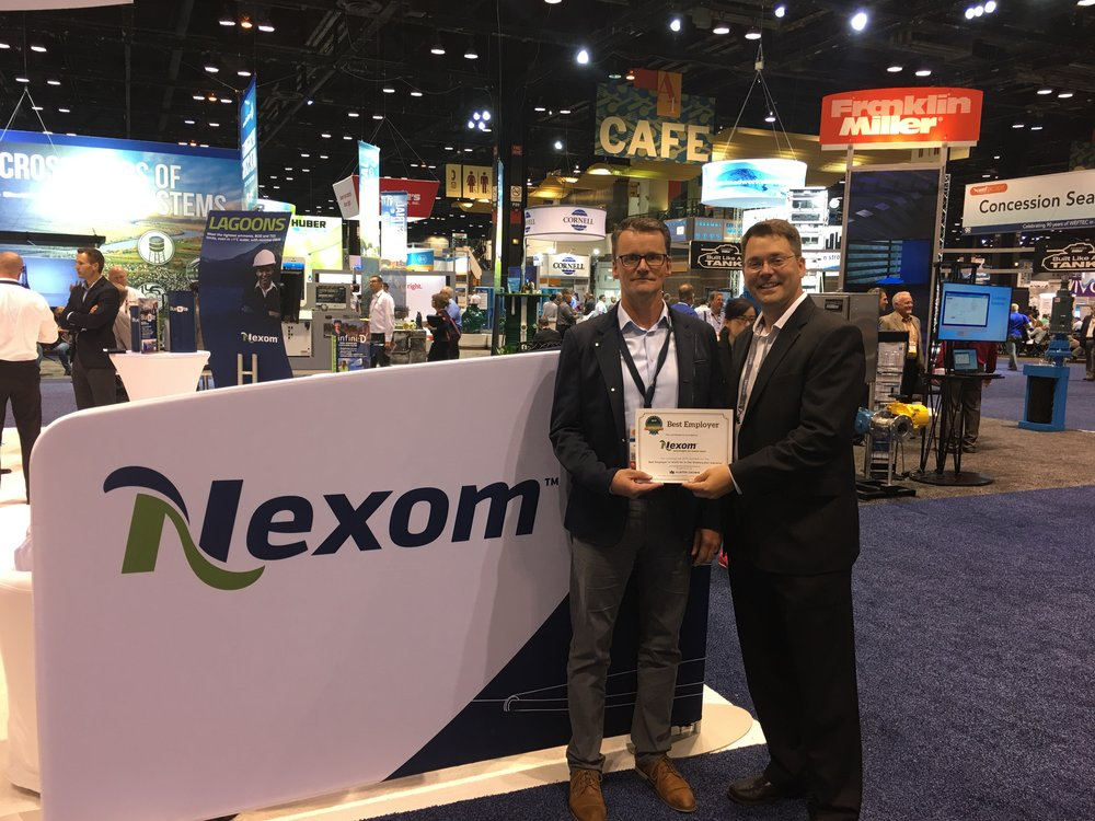 Martin Hildebrand, President, receives the award for the Best Employer in the Wastewater Industry on behalf of Nexom (WEFTEC 2017)