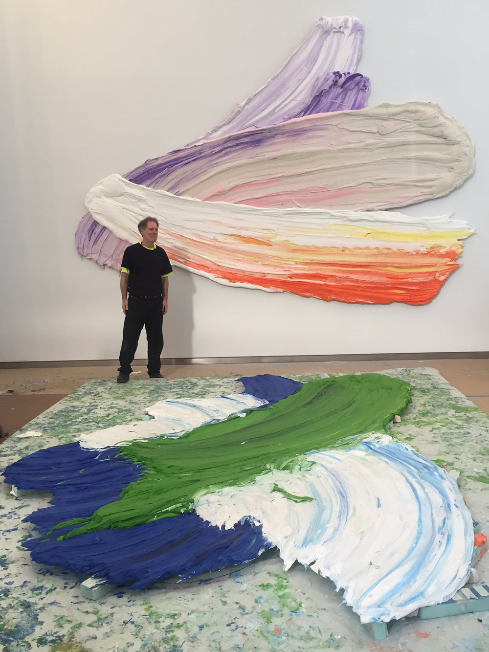 Donald Martiny with Lenape (on wall) and Unami at One World Trade Center, 2015. Courtesy of Donald Martiny.