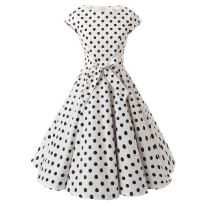 https://bit.ly/2qJPcdB  1950s Vintage Cap Sleeve Polka Dot White Swing Dress $31