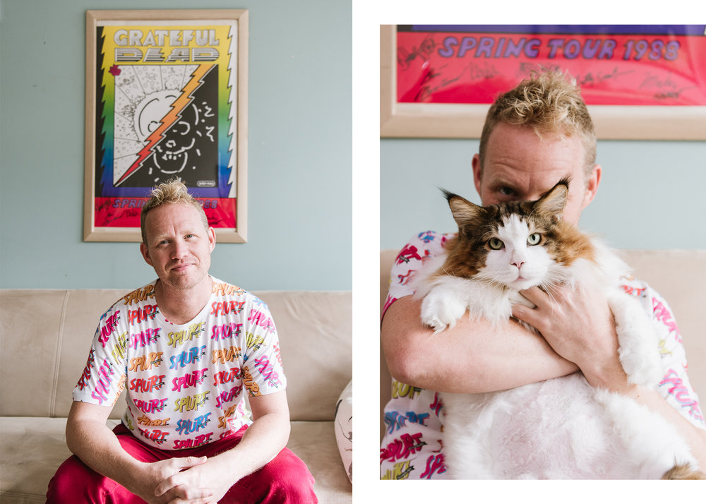 Jonathan Zurbel and Samson,  Founder of Zillionz Enterprises and Owner of Samson, the biggest cat in NYC