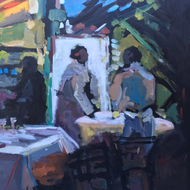 """The Cafe,""""36x36"""", oil on canvas,SOLD"""