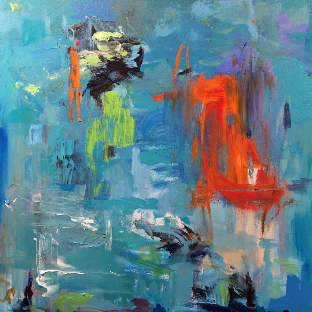 "Gotta Go,""36x36"" mixed media on canvas"