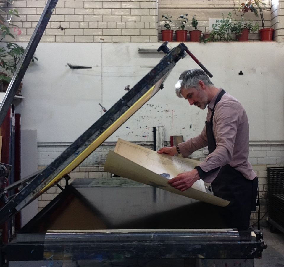 Gerry Turley making his new Humpback Whale screen prints at Edinburgh Print Studio