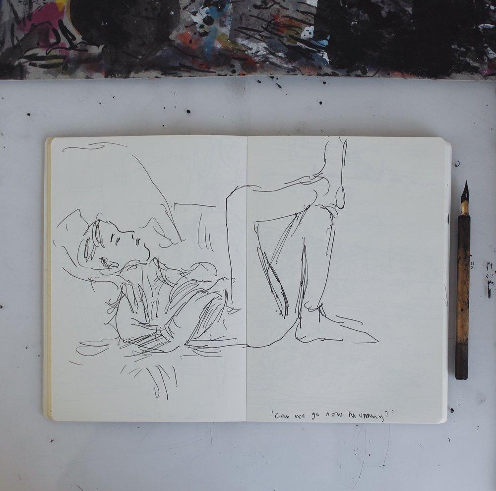 Helen Stephens drawing of Pie