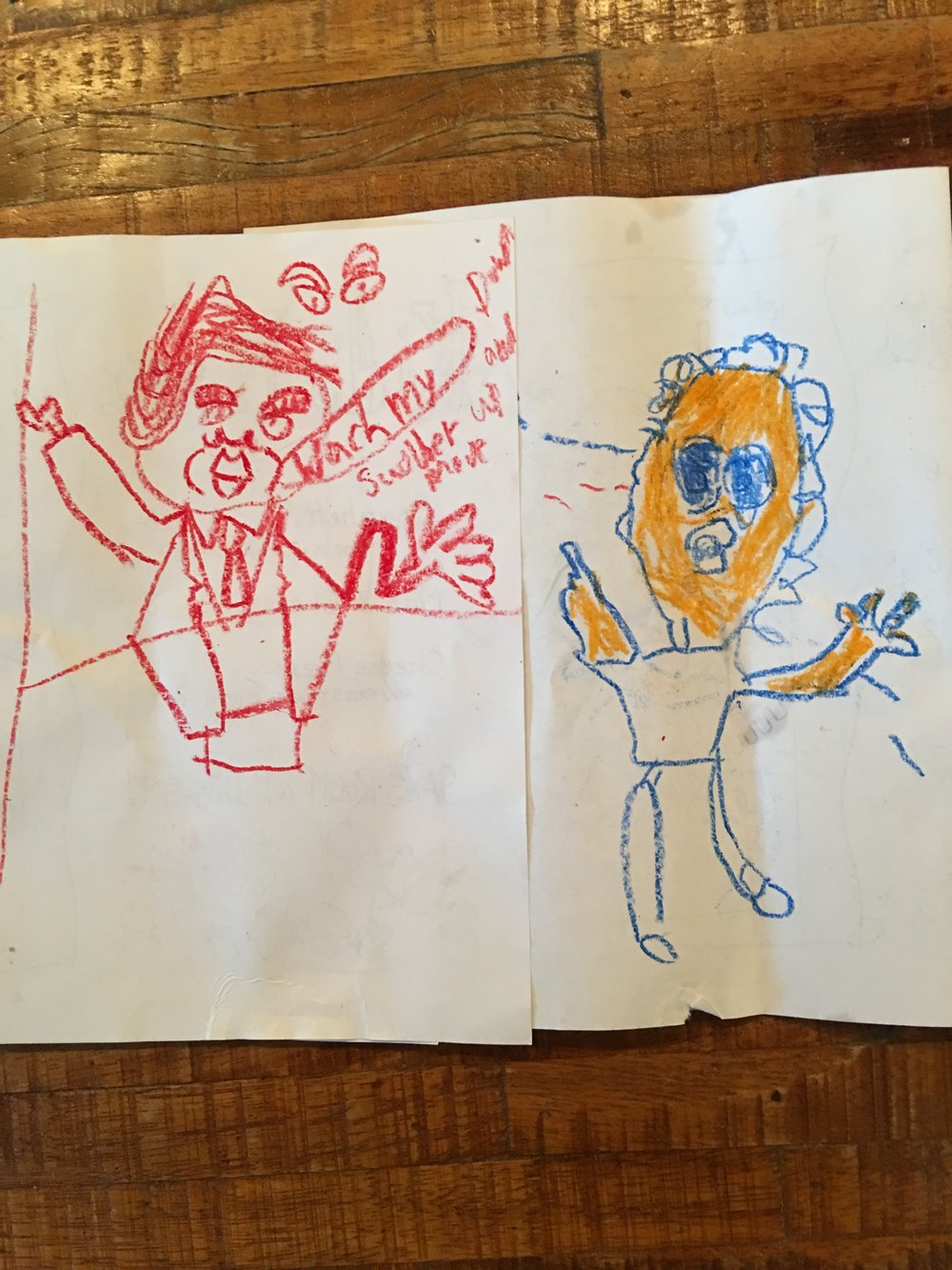 """""""Desperate Cheeto"""" - caricatures by a 9 year-old and 6 year-old"""
