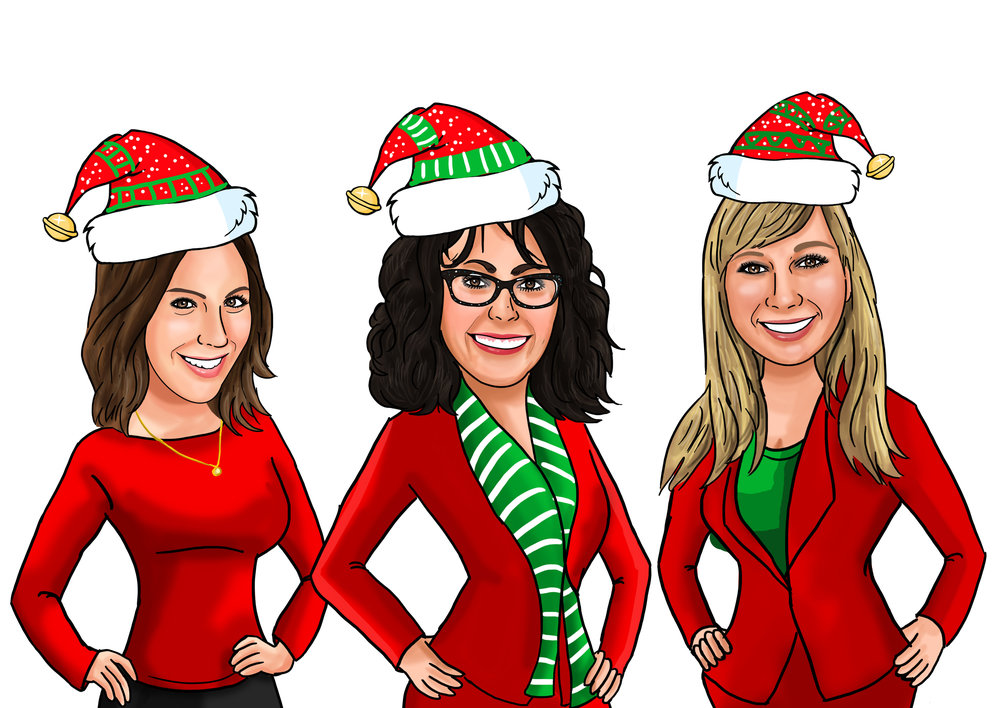 elf charicatures of Rachel, Julie and Leslie