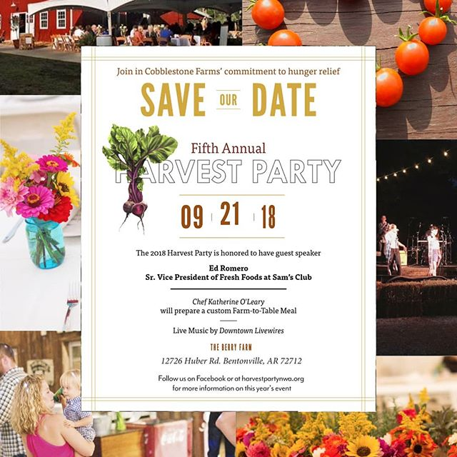 Tickets are on sale now! Get them before they sell out! Tickets available at harvestpartynwa.org. • • • • #harvestparty2018 #nwa #bentonvillear #fayettevillearkansas #fundraiser #dinner #community #endhunger #foodinsecure #cobblestonefarms #event #nwaevents #growingtogive