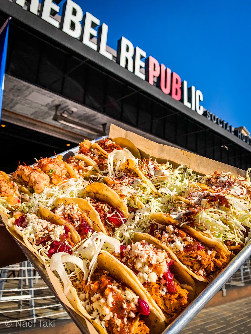Get your TACO TUESDAYS on at Rebel Republic - 11am - 11pmCARNE ASADA TACOS (3)Guajillio Marinated Asada | Cabbage Slaw | Fire Roasted Salsa | Cilantro Lime CremeFRIED AVOCADO TACOS (3)Deep Fried Mexican Avocados | Volcano Salt | Fire Roasted Salsa | Queso FrescoMAHI MAHI TACOS (3)Pineapple Cilantro Marinated | Cabbage Slaw | Pineapple Radish Salsa | Red Pepper CremeACHIOTE CHICKEN TACOS (3)Achiote Marinate Chicken | Pickled Red Onions | Fire Roasted Salsa | Queso FrescoCHIPS & SALSATajin Spiced Chips | Fire Roasted Salsa | Queso Blanco DipDESSERTChurros & Mexican ChocolateREBEL MICHELADALime | Volcano Salt | Mexican Beer | Social Popsicle