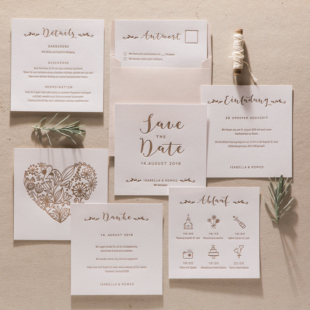 Hochwertige, handgedruckte Letterpress Einladungskarten