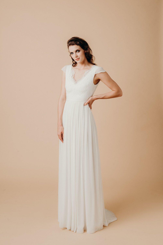 Boho Hochzeitskleid Chiffon Spitze